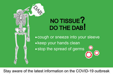 Human skeleton sneezing into the sleeve or hand. Coronavirus flyer with text, No tissue do the DAB. Covid-19 prevention sticker concept. Pathogen outbreak personal safety and protection. Vector.