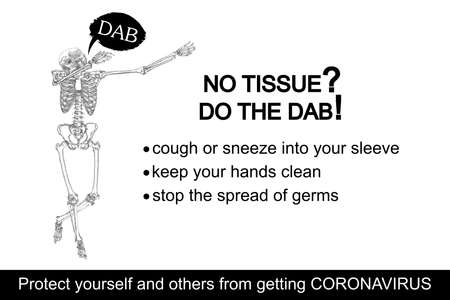 Coronavirus flyer. Human skeleton sneezing into the sleeve or hand. Novel coronavirus 2019-nCoV prevention sticker with text. Concept of pathogen outbreak prevention and personal safety. Vector. Vectores