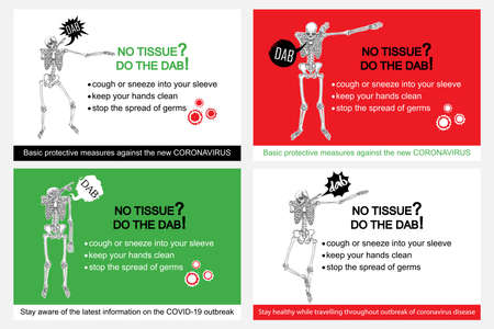 Set of cards. Human skeleton sneezing into the sleeve or hand. Coronavirus flyer with text, No tissue do the DAB. Covid-19 prevention sticker concept. Pathogen outbreak safety and protection. Vector.