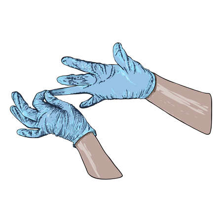 Hands putting on protective disposable blue gloves. Medical latex gloves for protection against COVID-19 and coronavirus . Protective measures  used for medical purposes to prevent germs and bacteria. Banco de Imagens - 146027797