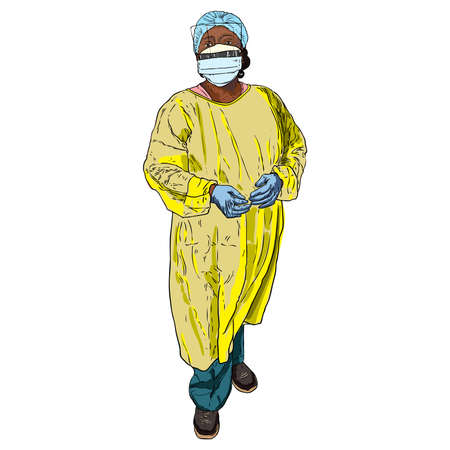 Doctor or nurse in the protective suit, medical mask and rubber gloves. Long hard working day in the hospital during COVID-19 coronavirus outbreak pandemic. Essential healthcare workers are heroes. Vectores