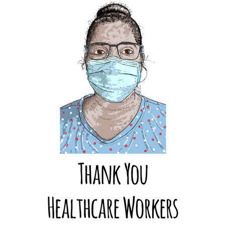 Thank you healthcare workers illustration drawing. Hard working essential services in the hospitals and clinics fighting the COVID-19 coronavirus helping to survive humanity. Vectores