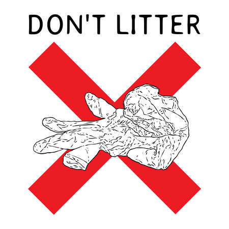 Do not litter sign with writing. Symbol of instruction, how to proper dispose medical used gloves and prevent contamination of Covid-19 coronavirus. Stop the spread, personal hygiene drawing. Stockfoto - 146027972