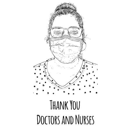 Thank you doctors and nurses illustration drawing. Hard working essential services in the hospitals and clinics fighting the COVID-19 coronavirus helping to survive humanity.