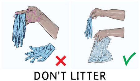 Do not litter sign with writing. Symbol of instruction, how to proper dispose medical used gloves and prevent contamination of Covid-19 coronavirus. Stop the spread, personal hygiene drawing. Vectores