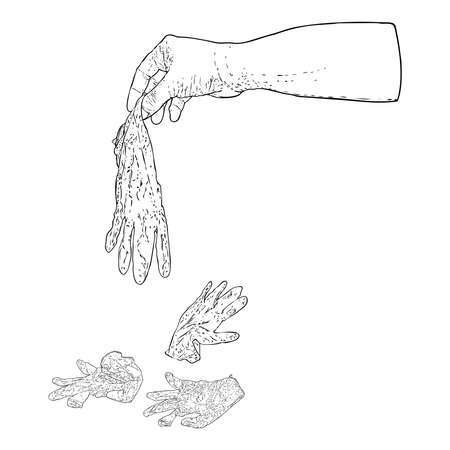 Un proper and bad disposal of used medical gloves. Littering of hazardous  contaminated bio waste disposal in the wrong way. Coronavirus COVID-19 prevention advice drawing.