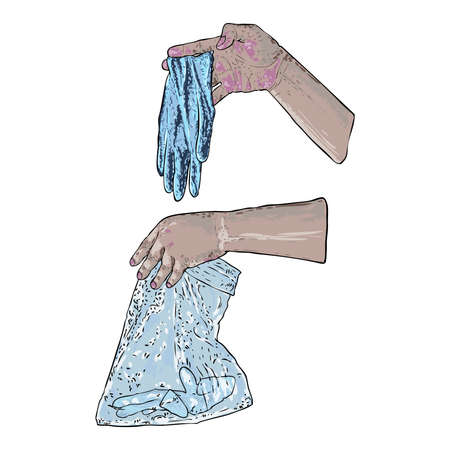 Proper disposal of used medical gloves. Hazardous  contaminated bio waste disposal and coronavirus COVID-19 prevention advice drawing. Banco de Imagens - 146028133