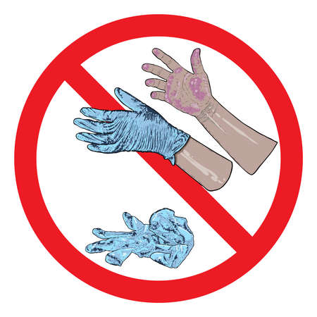 Don't litter sign. Stop throwing hazardous used gloves. Do not contaminate city by dropping bio waste disposal on the street. Coronavirus COVID-19 prevention warning advice drawing. Vectores