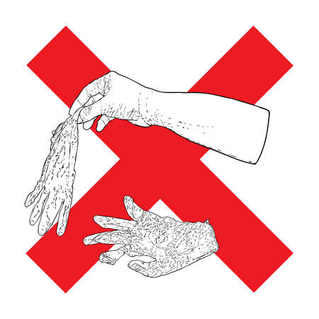 Hand throwing litter or trash, disposable medical used rubber gloves on the street concept. Stop litter or no litter sign to prevent coronavirus Covid-19 sign contamination.