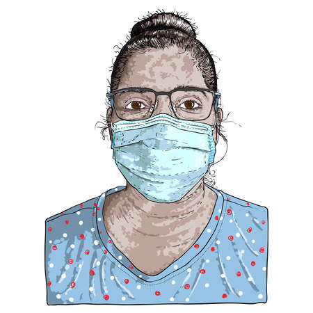 Portrait of the tired and exhausted nurse in the medical mask after hard working day in the hospital during COVID-19 coronavirus outbreak pandemic. Essential healthcare workers are heroes. Vectores