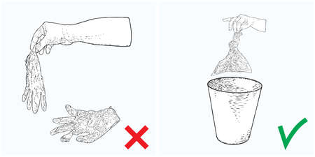 Instruction illustration, how to discard medical used protective gloves correctly for prevention coronavirus COVID-19 infection spread. No litter concept. Banco de Imagens - 146028164