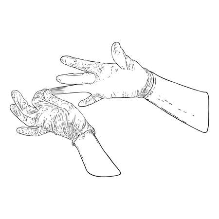 Hands putting on protective disposable blue gloves. Medical latex gloves for protection against COVID-19 and coronavirus . Protective measures  used for medical purposes to prevent germs and bacteria.