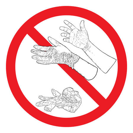 Hand throwing litter or trash, disposable medical used rubber gloves on the street concept. Stop litter or no litter sign to prevent coronavirus Covid-19 sign contamination. Banco de Imagens - 146028174
