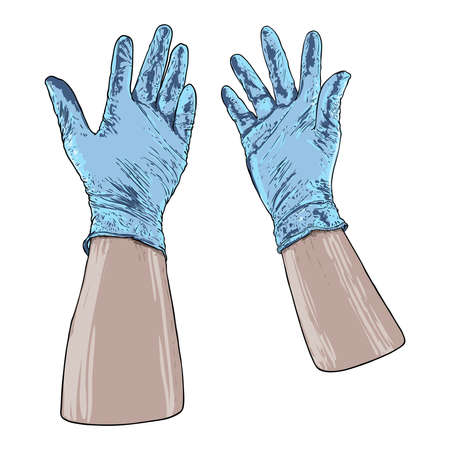 Hands putting on protective disposable blue gloves. Medical latex gloves for protection against COVID-19 and coronavirus . Protective measures  used for medical purposes to prevent germs and bacteria. Foto de archivo - 146028177