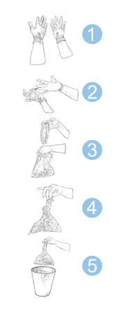 Proper disposal of used medical gloves infographic. Step by step instraction of hazardous  contaminated bio waste disposal and coronavirus COVID-19 prevention advice drawing. Foto de archivo - 146028178