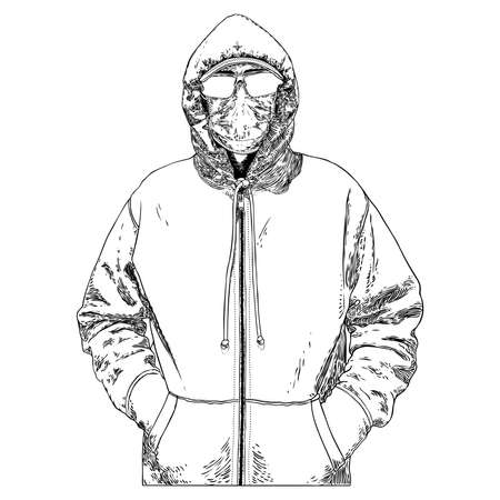 Novel coronavirus COVID-19 new normal social concept, Urban commuter in protective and medical face mask. Prevention and quarantine from infections, flu contaminated air pollution. Vector.