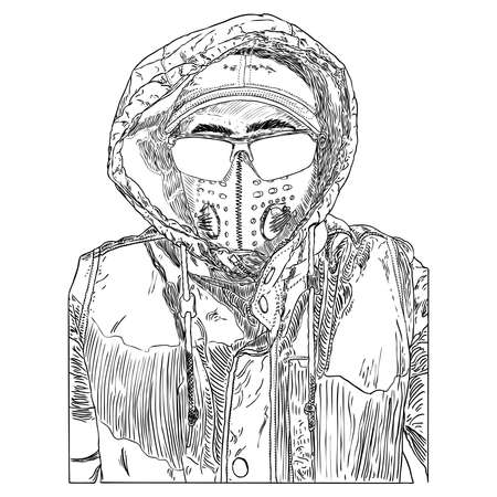 Man wearing protective and medical mask to prevent coronavirus COVID-19 disease. New Normal concept illustration. Person portrait in face mask for infection prevention. Vector. Illustration