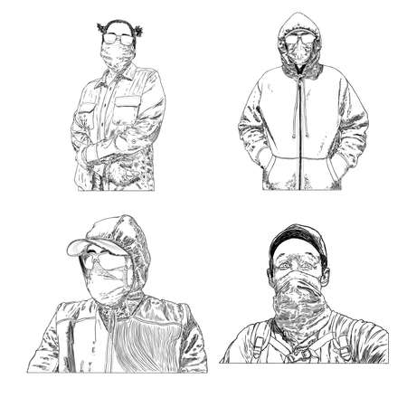 Set of urban commuters, nurses and doctors in protective and medical face mask and glasses. Novel coronavirus COVID-19 new normal social concept, Prevention and quarantine from infections. Vector. Illustration