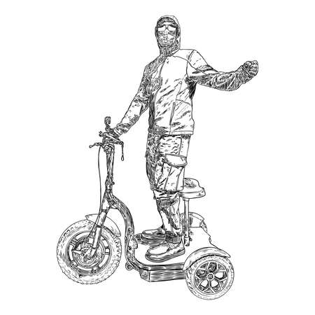Man on the electric scooter in protective and medical mask to prevent coronavirus COVID-19 disease. New Normal concept illustration. Person portrait in face mask for infection prevention. Vector.