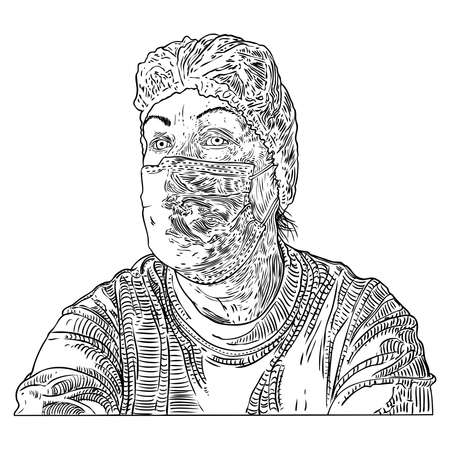 Woman in protective medical face mask, New Normal social concept, young female wearing prevention and protection from coronavirus COVID-19 virus and urban air pollution. Vector. Illustration