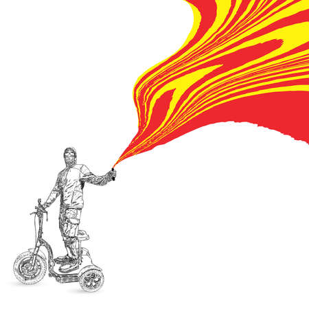 Black man on electric scooter protesting holding smoke bomb with red fire. Protester taking part in Black lives matter rally protest. Activists banner with space for text. Tolerance, no racism vector.