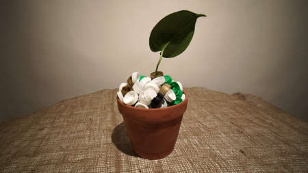 Green growing plant in pot full of plastic dirt trash. Agriculture and gardening or ecology disaster. Concept of environmental catastrophic apocalypse due non recyclable plastic garbage pollution.