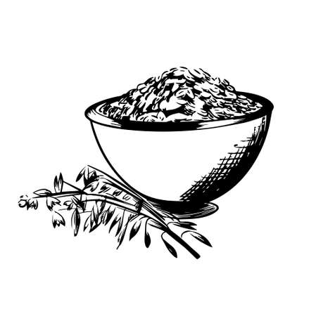 Oats bowl sketch. Oatmeal porridge bowl with grain