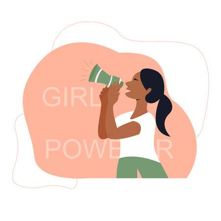 Black beautiful woman holding a megaphone loud speaker illustration. Feminist girl concept. Girl power poster
