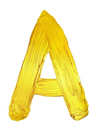 Golden letter A of  alphabet. Hi res photo