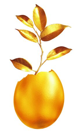 Golden sprouts. Business economy concept photo