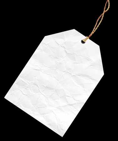 Blank tag isolated on black. Stock Photo