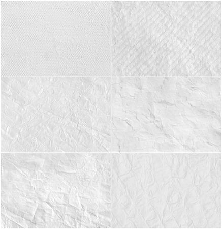 background: Set creative white paper texture.