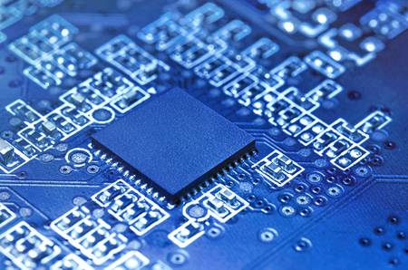 Electronic circuit board with processor. Technology background.