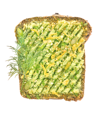 Healthy avocado toast for breakfast with grated cheese. Vegetarian sandwiches.