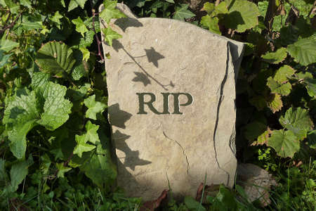 rest in peace: Simple weathered gravestone - Rest in Peace