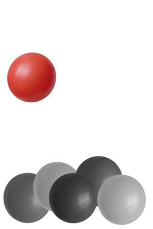 mundane: Red ball breaking away from the crowd - isolated on white Stock Photo