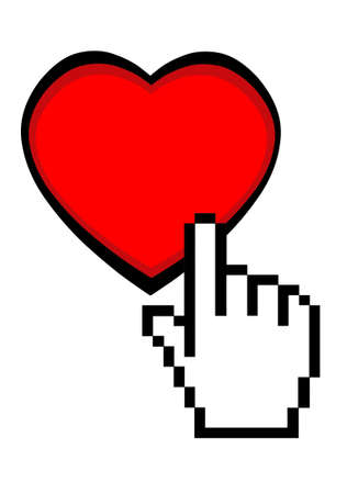 Click here for love - heart with hand cursor - on white Stock Photo - 6036512