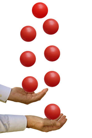 priorities: Juggling - man in business shirt with impossible task, on white