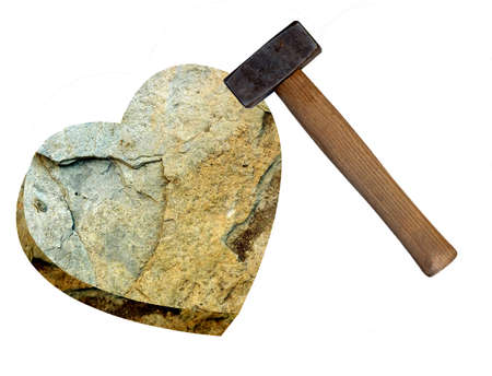 unrequited love: Heart of stone with club hammer, isolated on white Stock Photo