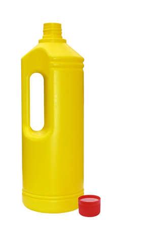 mundane: Yellow plastic bottle, red top. Isolated. Stock Photo