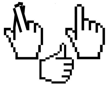 Assorted hand cursors - thumbs up, fingers crossed and pointing Stock Photo - 6353917
