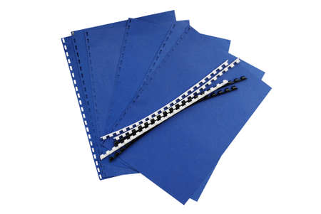 spiral binding:  Comb binding in progess - isolated Stock Photo