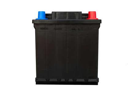 12v:  Car battery isolated on white Stock Photo