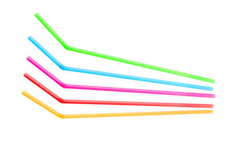 Bendy drinking straws - isolated on white.