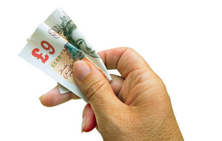 dodgy: Reduced spending power - nine pound note!