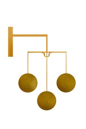 pawn shop: Golden pawn broker sign - illustration Stock Photo