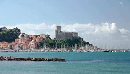 med: Lerici castle and marina, Italy - popular destination on the Med Stock Photo