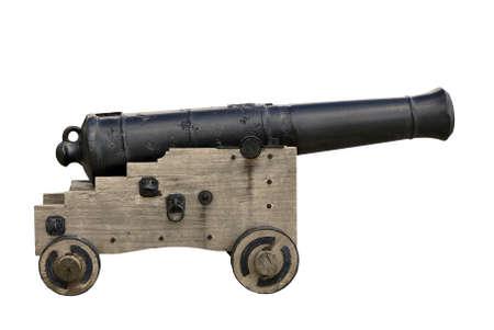 Histórico cañón naval - aislado  Foto de archivo