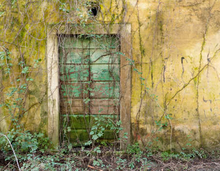forgotten: Forgotten doorway - secret garden Stock Photo