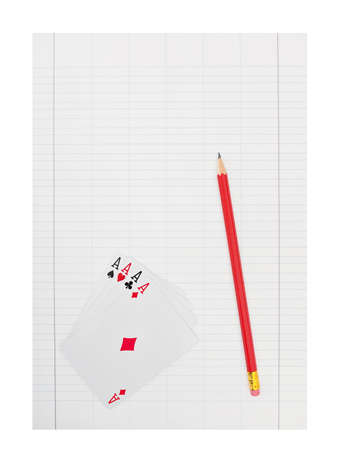 Accounts paper with aces and red pencil - copyspace background Stock Photo - 9607668